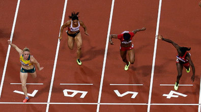 "Sally Pearson beats Dawn Harper (AP Photo/Morry Gash) Sally Pearson Wins Gold In The Women's 100-Metre Hurdles At The London Olympics Australian Sally Pearson has backed up her world champion status by claiming the gold medal in the women's 100-metre hurdles at the London Olympic Games. Pearson flew both over the hurdles and between them in light rain, clocking a time of 12.35 - an Olympic record. Dawn Harper from the United States was second in 12.37 and fellow American Kellie Wells was third in 12.48. Pearson told Channel Nine shortly after winning that she was thinking pre-race: ""This has to be mine."""