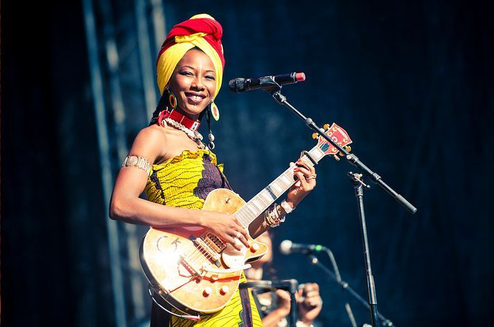 This is Fatoumata Diawara. I was at her concert at Stockholm Music & Arts festival this Sunday. She took me with storm! She is from the Ivory Cost (but has Malian parents), sings about war and misery but with a gorgeous jazzy voice and she is charming on stage.  Photo: Petter Hellman