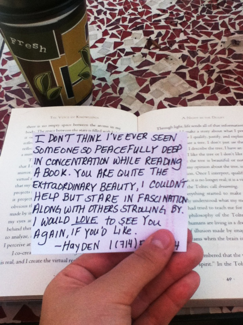 littleglasslungs:  trinityburn: So I'm at an old cafe by the beach alone and I got up to use the restroom and buy a croissant. When I returned this was in my book