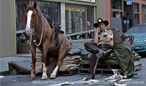 The Walking Dead: Rick and his horse having a pause