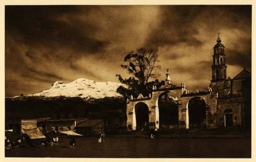 Iztaccihuatl, Mexico, as seen from Amecameca, 1925 photo by by Hugo Brehme