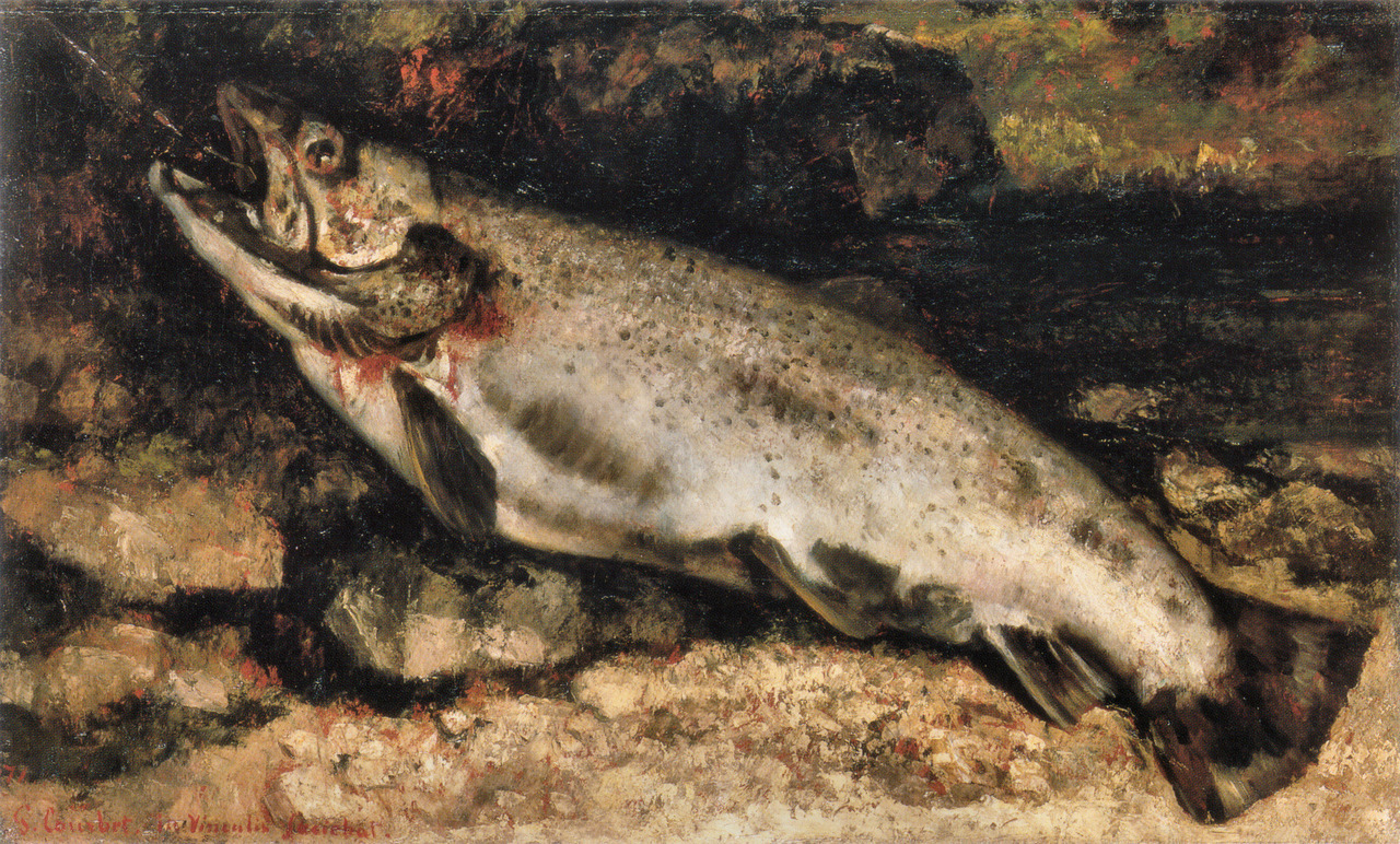 lamouchemorte:  Gustave Courbet   The Trout, 1873, Oil on canvas