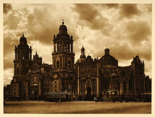 Metropolitan Cathedral in Mexico City, 1925 by Hugo Brehme