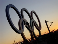 Edinburgh's Olympic Rings at sunset. Not quite sure why we have them, when we're not exactly hosting, but I liked the light.