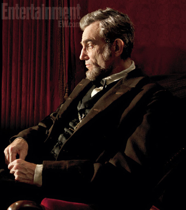 bohemea:  First look at Daniel Day-Lewis as Abraham Lincoln in Lincoln Wow! I was just saying last night that I wasn't really anticipating Lincoln, but he looks amazing! Now I'm intrigued. The film is based on the book, Team of Rivals by historian Doris Kearns Goodwin, directed by Steven Spielberg & adapted by Tony Kushner (who wrote Angels In America). Lincoln opens in theatres November 9th.
