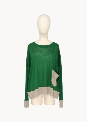 (via Loose Knit Top Green / Beige | Tsumori Chisato E-store)