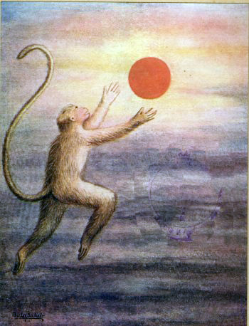 godindrag:  Hanuman Mistakes the Sun for Mango - Balasaheb Pant Pratinidhi  This picture, Bryan!