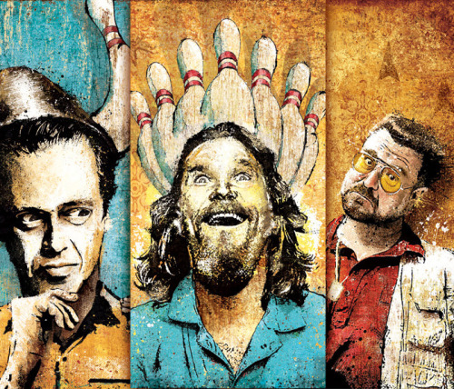 """The Lebowski Collection"" You can now buy the three-part series of Lebowski prints with one, convenient purchase.  I just added the collection to my shop today. Also, I now take credit cards in my shop.  Paypal be damned! Prints listed from left to right: ""On Strikes and Gutters""""Enlightenment Through Bowling""""Parlance of Our Times"""