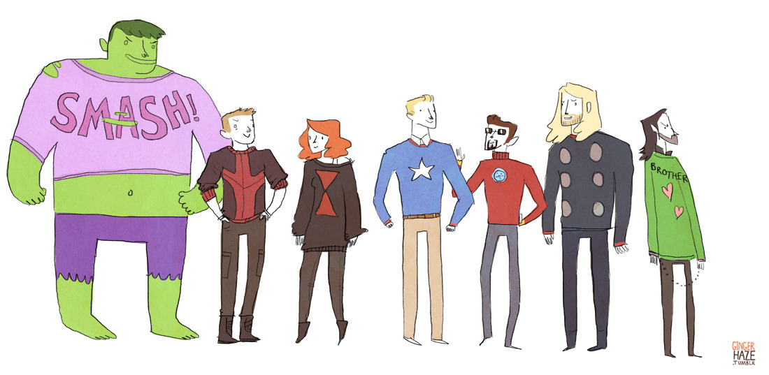 gingerhaze:  Still art slumpin' so I guess that means it's time for AVENGERS IN A LINE geez how many times have I drawn the Avengers in a line in this exact order. jhatesyourcrocs suggested that I draw the Avengers wearing sweaters and sweaters is my OTHER default mode besides Avengers, so yes obviously Anyway I think Bruce knitted sweaters for everyone because knitting is a calming pastime, and then Thor was like LOKI IS MY BROTHER AND HE DESERVES A SWEATER TOO and so Bruce made one for Loki with Thor's design input.  I'm in love with Loki's sweater.