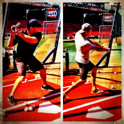 Swing, batter batter. Shawn Thornton and Tuukka Rask take BP at #FenwayPark. #bruins #baseball (Taken with Instagram)