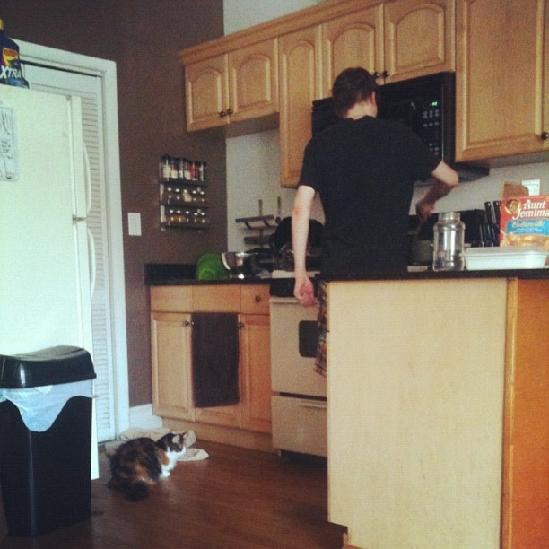 #medli #creeping at #snormax while he #cooks #dinner #nom #yum #cat #kitty #cuties #adorable #catsofinstagram #petsofinstagram #cutecats #personal #thelife #delicious (Taken with Instagram)