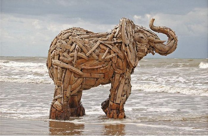 Driftwood sculpture by Andries Botha.