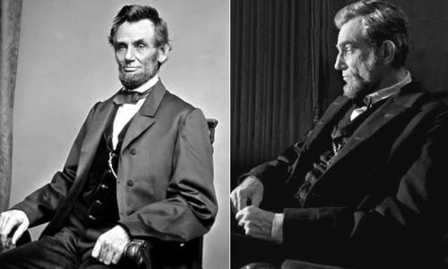 newsweek:  On the left is Abraham Lincoln. On the right is Daniel Day-Lewis (as Abraham Lincoln). Wow.  And the Oscar for best makeup goes to…