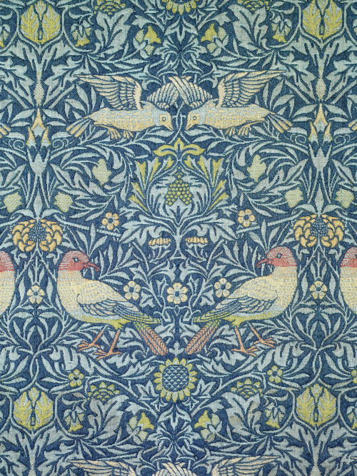 "cavetocanvas:  William Morris, Bird, 1878 From the Metropolitan Museum of Art:  This pattern was registered in 1878; Morris designed it for the walls of the drawing room of his family home, Kelmscott House, in the Hammersmith area of London, which they occupied from 1878 until his death in 1896. It continued to be made after Morris & Company established textile production at Merton Abbey in 1881, and it was produced in three colorways. Morris himself referred to this type of fabric as ""woven wool tapestry,"" though it is not technically a tapestry weave but a doublecloth. The effect of this heavy wool fabric when used as a wall covering, as it was at Kelmscott House, is a fine example of Morris' interpretation of the decorative arts of that era."