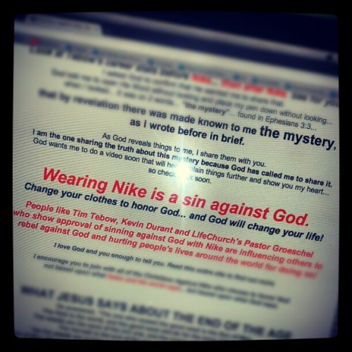 PLEASE go to this website and see how hilarious it is. Christiansagainstnike.com (Taken with Instagram)