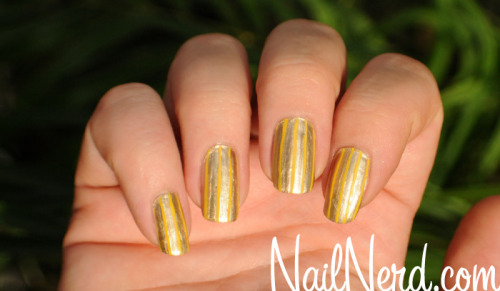 Gold lined nails with Essie Good As Gold