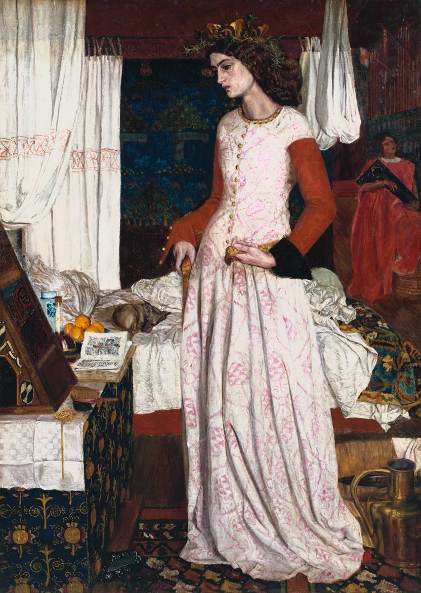 cavetocanvas:  William Morris, La Belle Iseult, 1858 From the Tate Gallery:  This is the only completed easel painting that William Morris produced. It is a portrait in medieval dress of Jane Burden, whom Morris married in April 1859. The picture has been identified in the past as Queen Guenevere, partly owing to the fact that Morris published his first volume of poetry,The Defence of Guenevere, in March 1858. However, recent research has established convincingly that the picture is intended to represent Iseult mourning Tristram's exile from the court of King Mark. The rich colours, the emphasis on pattern and details such as the illuminated missal reveal where Morris's true talents lay. He was less at home with figure painting than with illumination, embroidery and woodcarving, and he struggled for months on this picture. He worked for much of the time at 17 Red Lion Square, the rooms he shared with Edward Burne-Jones. Many of the furnishings such as the Turkish rug, Persian embroidered cover and whitework hangings on the bed were probably in Morris's personal collection. The background panel is close in style to the heavy tapestries designed by Morris for Red Lion Square and the table cover is of the type taken as a model by Morris and Webb for the firm's church furnishings.