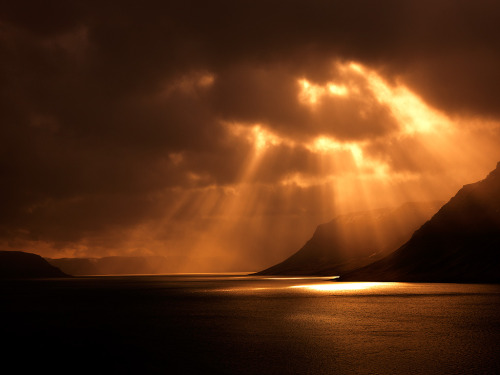 Sunbeams At Dyrafjordur, Iceland