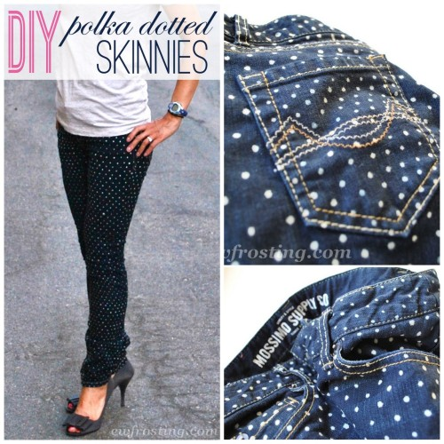 DIY Anthropologie Inspired Polka Dot Jeans the Easy Way from c.w.frosting here. This is absolutely the easiest way I've seen to make the trendy polka dot jeans. No stencil and no paint required! *For four more polka dot jean tutorials go here: truebluemeandyou.tumblr.com/tagged/polka-dots