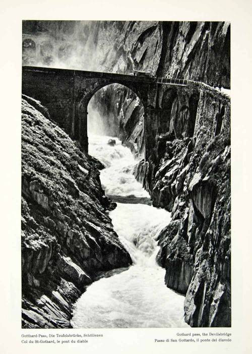 Devils bridge, Reuss River, Gothard Pass in the Swiss Alps, 1950s