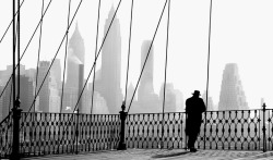 details:  hobnobnoir:  Brooklyn Bridge Viewby Paul Himmel 1943  Style really does transcend time.