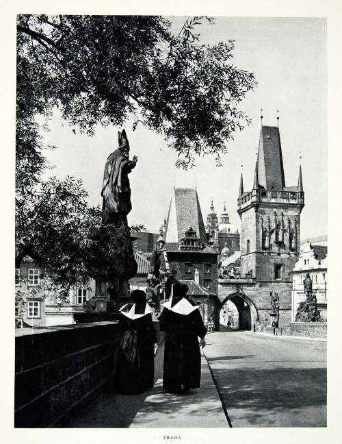 Nuns walking across the Charles Bridge, Vltava River, Prague, Czech Republic, 1950s