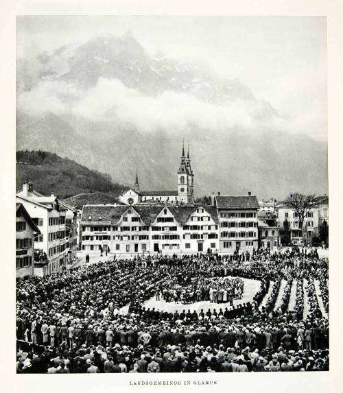 Meeting of the Landsgemeinde, Glarus, Switzerland, 1950s