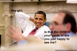 heygirlitsbarackobama:  Hey girl, Is that the DOW in your pants or are you just happy to see me?