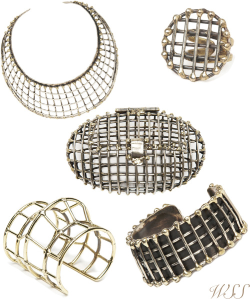 Obsessing over these caged pieces-ESP the clutch in the center. All by Anndra Neen