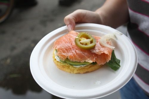 Bagel w/ cream cheese, lox, lettuce, picked onion and topped with a pickled jalapeno. The name of the restaurant is slipping my mind, but it was fantastic. At Broad Appetit in Richmond, VA.