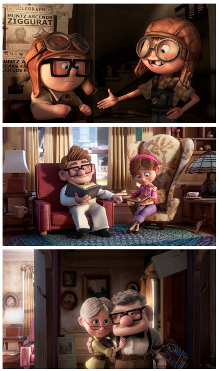 disneypixar:  Our favorite love story, in three frames.   I have bawled my eyes out at the beginning of Pixar's Up all three times I've seen it, without fail. <3 Carl and Ellie.