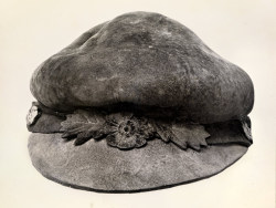 "collective-history:  Mushroom Hat This hat, shaped from the fibrous interior of Fomes fomentarius, was mailed to National Geographic headquarters by William J. O'Reardon in 1920. Its accompanying letter cataloged the cap's dimensions and alerted the editors that this ""very rare and extraordinary cap [is] made from a mushroom."" Photograph by Charles Martin, National Geographic"