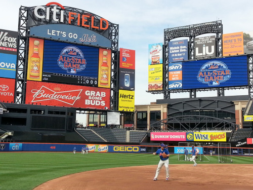 The video screens at Citi Field were adorned with the 2013 All-Star Game logo before Tuesday's game.