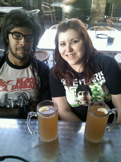 witchweed:  Mah boy and I. Not sure if eyeing mah beer or eyeing mag boobies.