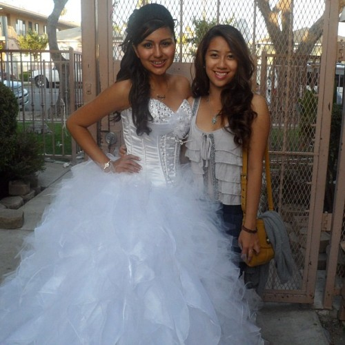 Tanya looked gorgeous on Saturday for her Quince 😊 I was wearing heels and she was wearing flats and I'm still shorter 😔 (Taken with Instagram)