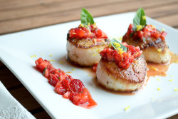 -foodporn:  Seared Scallops with Strawberry Basil Salsa RECIPE