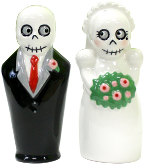 "For you rockabilly and Day of the Dead lovers out there…how about these for a cake topper? Only $18.00! ""Kitschy Day of the Dead bride and groom ceramic salt and pepper shakers. Adorable detailed faces on these little skeletons!"""