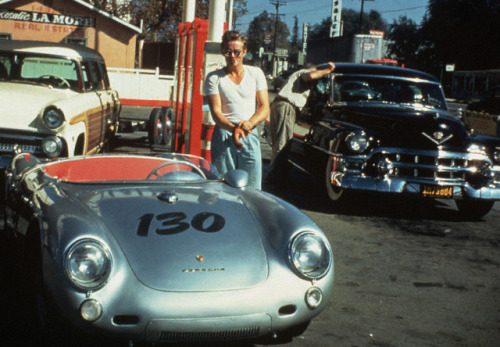 "JAMES DEAN JIMMY GASSES UP ""LITTLE BASTARD"" JUST HOURS BEFORE HIS FATAL CAR WRECK."