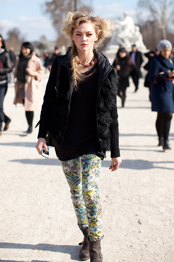 Sasha Pivovarova during Paris Fashion Week Spring 2011