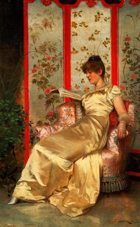 books0977:  Lady Reading (mid 19th c). Charles Joseph Frederick Soulacroix (France, 1825-79). Soulacroix began his studies at the Ecole des Beaux-Arts in 1845 where he was a pupil of Ramney, Cornelius and Dumont. The artist made his debut at the Paris Salon in 1849.  Soulacroix excelled in painting figurative subjects in the sumptuous interiors of the fashionable salons of Paris. The artist pays particular attention to detail in his paintings, depicting elegant furniture with fine silk and satin fabrics on the dresses and walls.