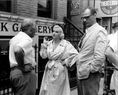 Marilyn Monroe, George Cukor and Arthur Miller on the set of Let's Make Love, 1959.