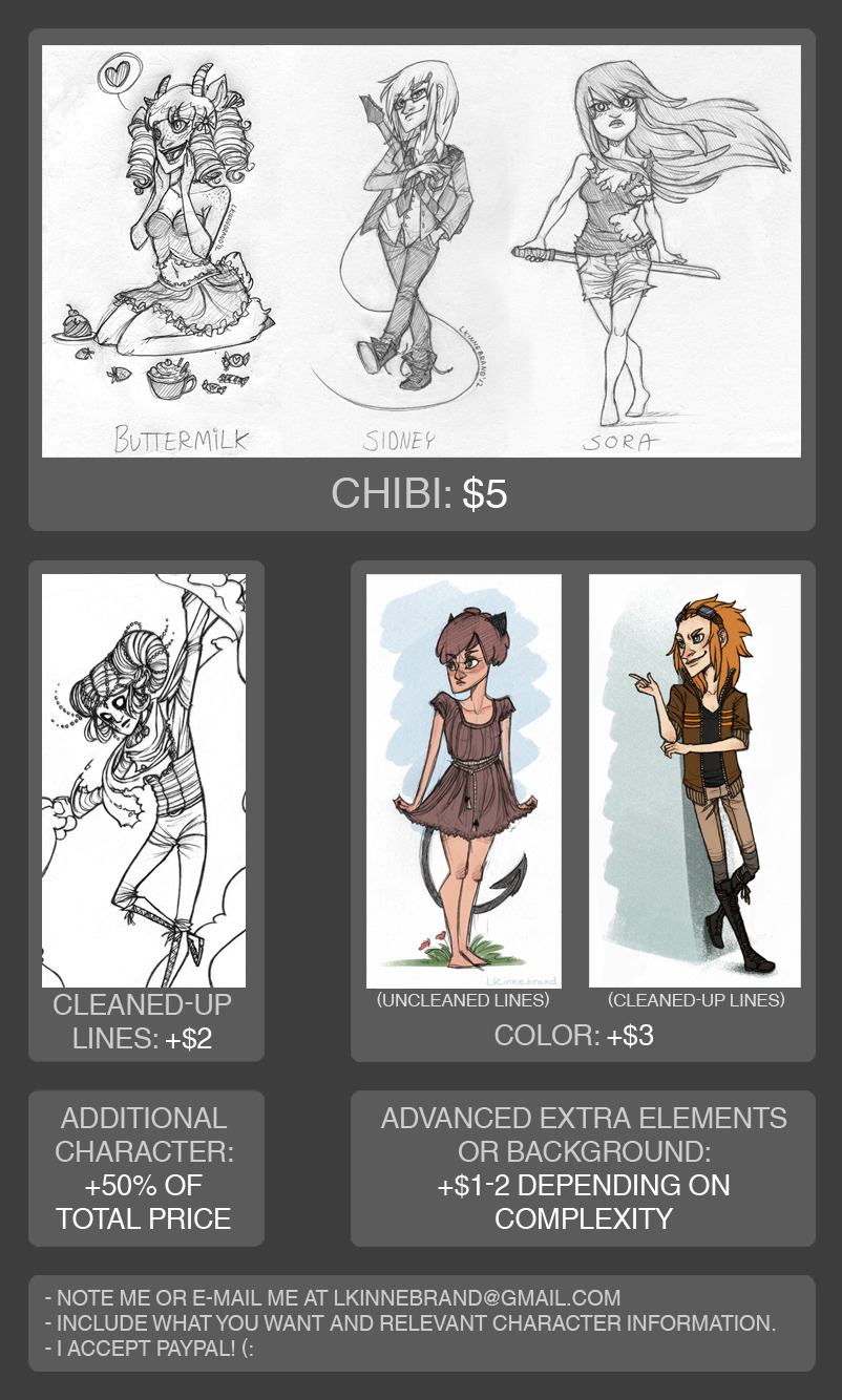 lkinnebrand:  COMMISSIONS ARE OPEN! :D BIGGER PICTURE Won't get any money for half a year, so here goes a try to earn at least some! If you want a chibi, please note me at my deviantart or e-mail me!  Reblog this and help me out? <3 I will love you forever!