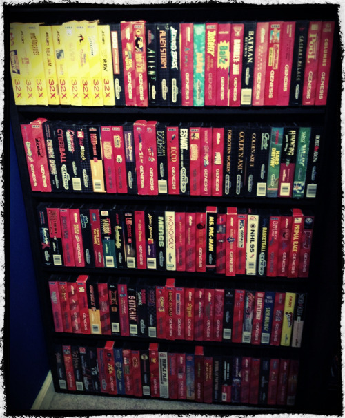 My Sega Genesis/Mega Drive and 32X collection as of 8/14/12. And it has already grown since then.