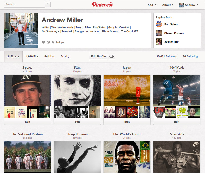 I am now being followed by over 23,000 people on Pinterest. I guess my new routine of taking 15 minutes every morning to devote to pinning has started to pay off. I look forward to more people discovering my boards, and hope to keep giving them inspiring images. You can check out and follow my Pinterest profile here: http://pinterest.com/oylmiller/