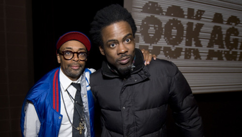 sundancearchives:  Spike Lee and Chris Rock pose after the premiere of Lee's film Red Hook Summer during the 2012 Sundance Film Festival.  Chris Rock attended the Festival in support of Julie Delpy's new film 2 Days in New York, in which he stars.Both Red Hook Summer and 2 Days in New York open in select cities this week.Photo by Jonathan Hickerson