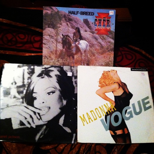 Best record store finds yet!!! Half Breed by Cher, If. by Janet, and VOGUE by Madonna! My pop heart is so happy! #WINNING (Taken with Instagram)