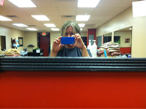 It's 11 PM.  You know, at night.  Three hours at the hair salon and counting.  THREE.