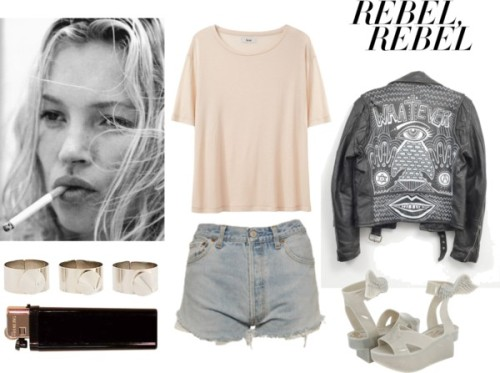 rebel rebel by vivianalejandra featuring levi shortsAcne short sleeve shirt / Levi's levi shorts / ASOS spike ring
