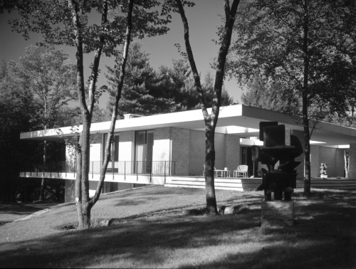 Day House 1965 | New Canaan, CT | Architect: John Black Lee | Photo: Pedro E. Guerrero In 1957, Lafayette Page III sold an unimproved parcel to Lee G. Day, Jr., who later commissioned modernist architect John Black Lee to design a house to be built on the site for his family. By 1965, the house was completed. The parcel and house stayed in the Day family until Conway M. Day sold the property to Gary and Judith Witkin in 1992. John Black Lee designed the Day House with a Palladian-influenced plan and siting and rich finishes at the interior and exterior, marking it as a high-style example of mid-century Modern residential design. Despite minor changes, the house retains a very high degree of integrity at both the interior and exterior.Source: archdaily.com | preservationnation.org