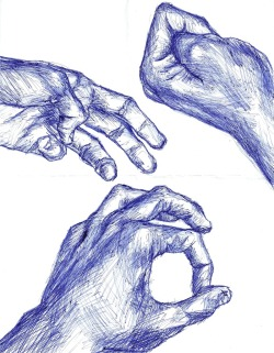 hands in blue ink